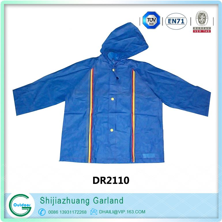 pet pattened transparent pvc children raincoat
