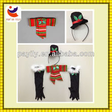 Azo-free christmas costume set for kids(headband/glove/scarf)