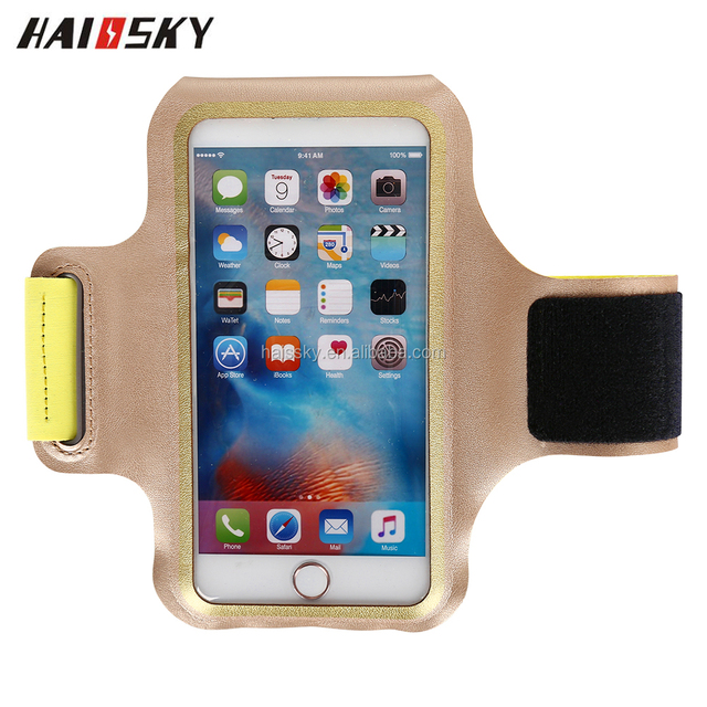 Haissky special design high quality Luxury soft leather+Lycra waterproof sport armband case for 5.5'' universal mobile phone