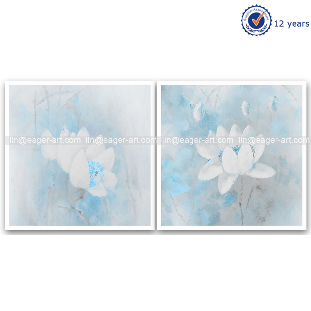 Handmade Abstract Group 2 Panel Flower Painting Wall Pictures For Living Room