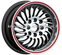 Red lip machined face car aluminum alloy wheel rims