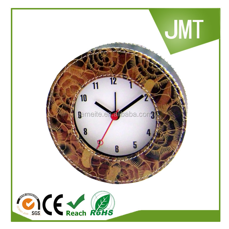 Home decor Leather cover plastic table clock