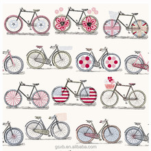600D polyester oxford bike print fabric for bag and luggage
