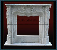 Flower Carved Stone Fireplace Mantel
