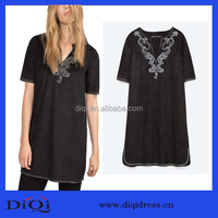 Long islamic organic embroidery design tunic top,Low v neck short sleeve cotton embroidery tunic top for lady