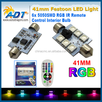 16 colors RGB 2w High power festoon light Best Quality of 5050SMD three chips 41mm LED Light Car LED Dome Map Light