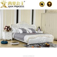 The most popular Europe style bedroom furniture, luxury upholstered solid wood carving genuine leather bed