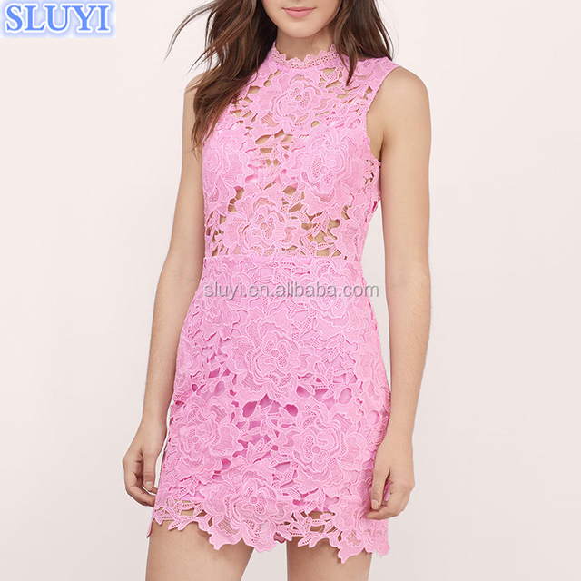 summer pink sweet fantasy lace sleeveless women bodycon dress hand embroidery latest designs for dresses
