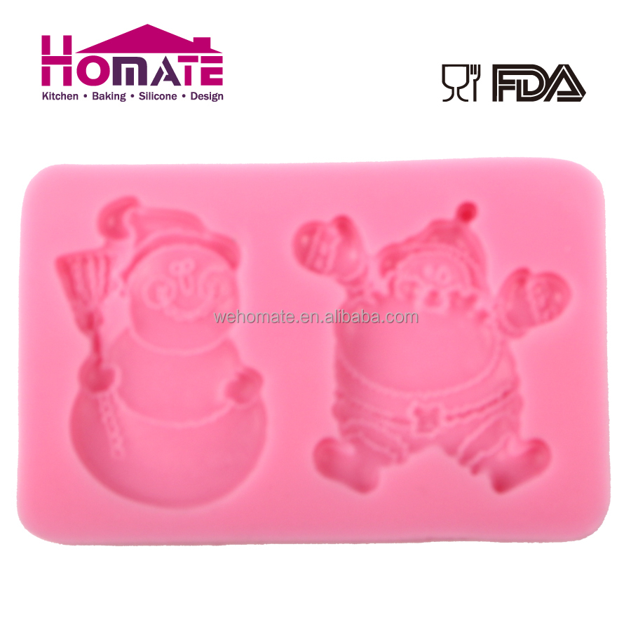 Snowman&Santa design high quality FDA,LFGB approved silicone fondant cake mould