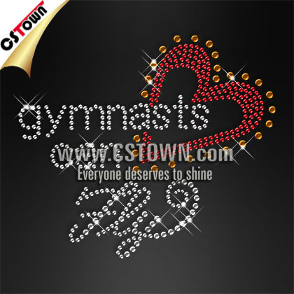 Crystal custom gymnastics heart shape rhinestone transfer