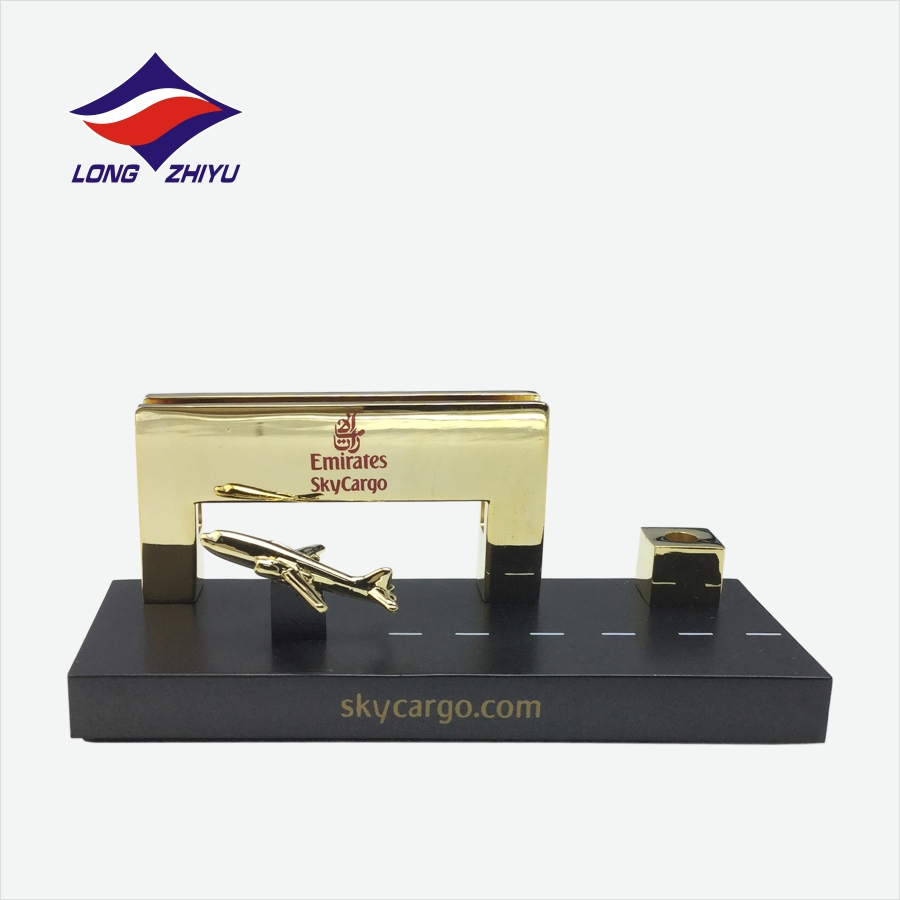 Gold plated decorative crafts metal business card holder for office