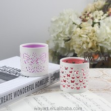 Butterfly Pattern Pierced Ceramic Candle Holder