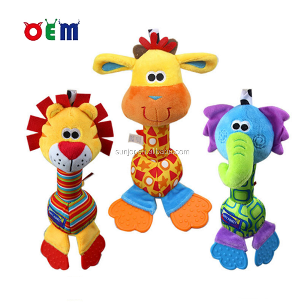 OEM Plush Animal Shape Baby Rattle Toy with Silicone Teethers