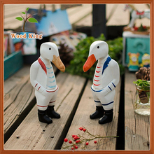 Zakka Groceries Nordic Solid Wood Drawing Cartoon Editerranean Home Furnishings Wooden Ducks Hand Carved Wood