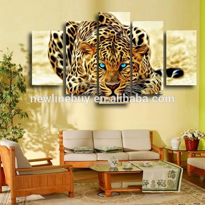 5 Pcs Yellow Abstract Leopards HD Wall Picture Decorative Art Print Painting On Canvas For Living Room Home Decoration Unframed