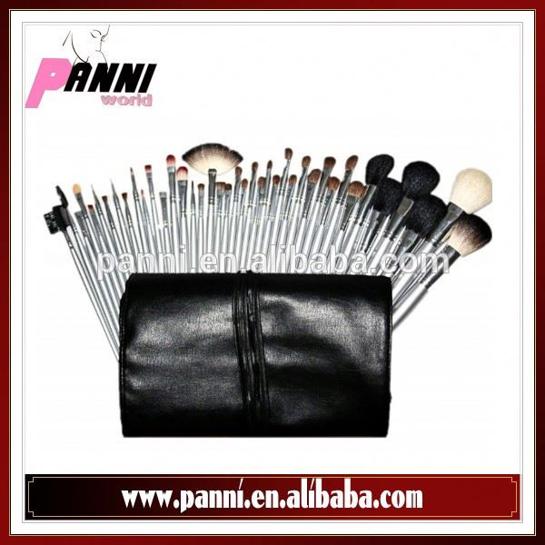 2015 popular cosmetic make up kit 40pcs goat,pony hair black pouch silver color wood handle brushes