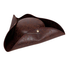 Distressed Leather Look Mens Ladies Brown Pirate Fancy Dress Hat BP1858