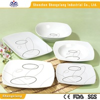 Hot sale high quality square shape fine porcelain dinner set