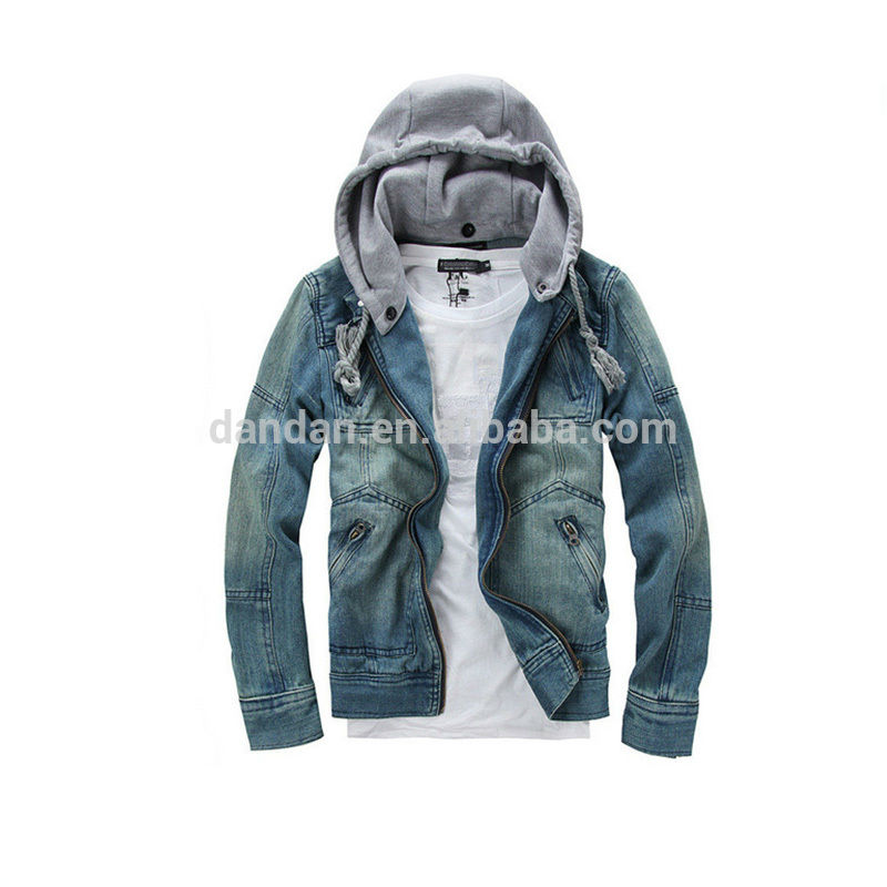 Hooded wholesale fashion jeans jacket for men