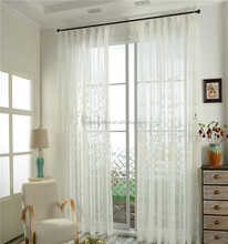 High quality tree leaves voile curtain embroidered french window curtain living room balcony