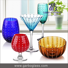 High Quality Colored glass stemware brandy glass stemware Champagne wine glass