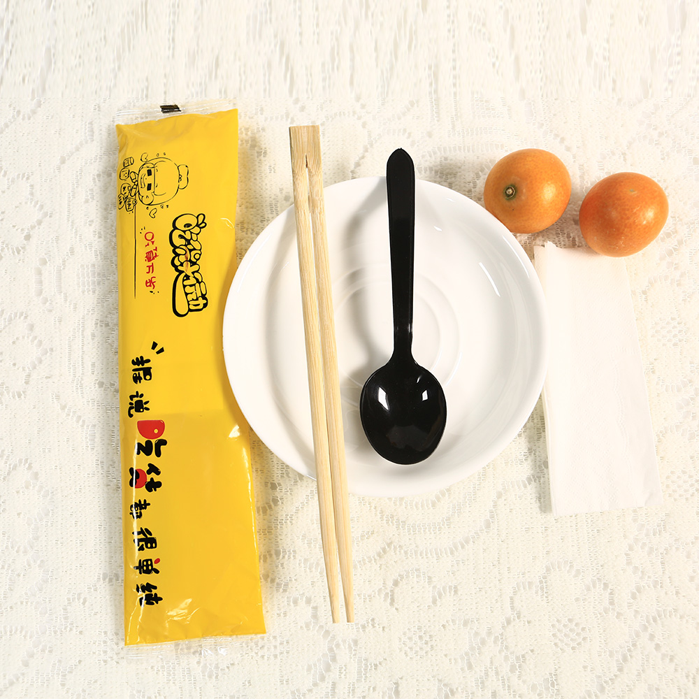 Disposable promotional spoon and chopsticks set with bag