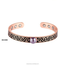 CB-6585 SUPER STRENGTH COPPER MAGNETIC BRACELET FOR MEN OR WOMEN - Arthritis Aid, Pain Relief Cuff Bangle