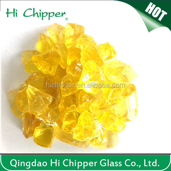 Yellow colored terrazzo grinding glass chips for decoration