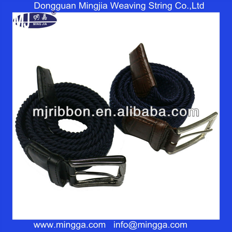 new design polyester bungee cord webbing waist belt with metal buckle