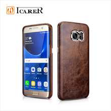 ICARER Oil Wax Real Leather Back Cover Phone Case For Samsung Galaxy S7 Edge