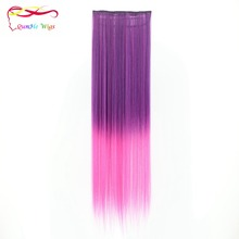 Wholesale long straight synthetic hairpiece gradient clip in hair wig