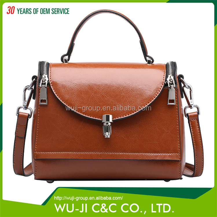 Different Style Top Grain Lady Leather Women's flap messenger Leather Bag