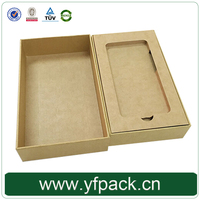 Customized Natural Kraft Paper Mobile Phones Accessories Box Packaging With Lid