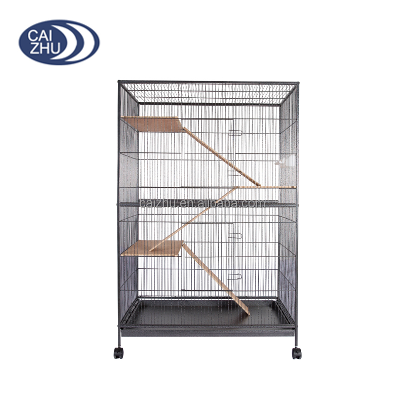 Large wrought metal 2 layers wooden stair ferret display pet cage