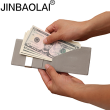 Jinbaolai Saffiano Leather RFID slim Card holder wallet/Fashion design leather mens card holder with metal Money clip