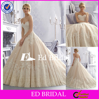 NC168 2016 Latest High Quality Lace Appliqued Puffy Princess Ball Gown Wedding Dress