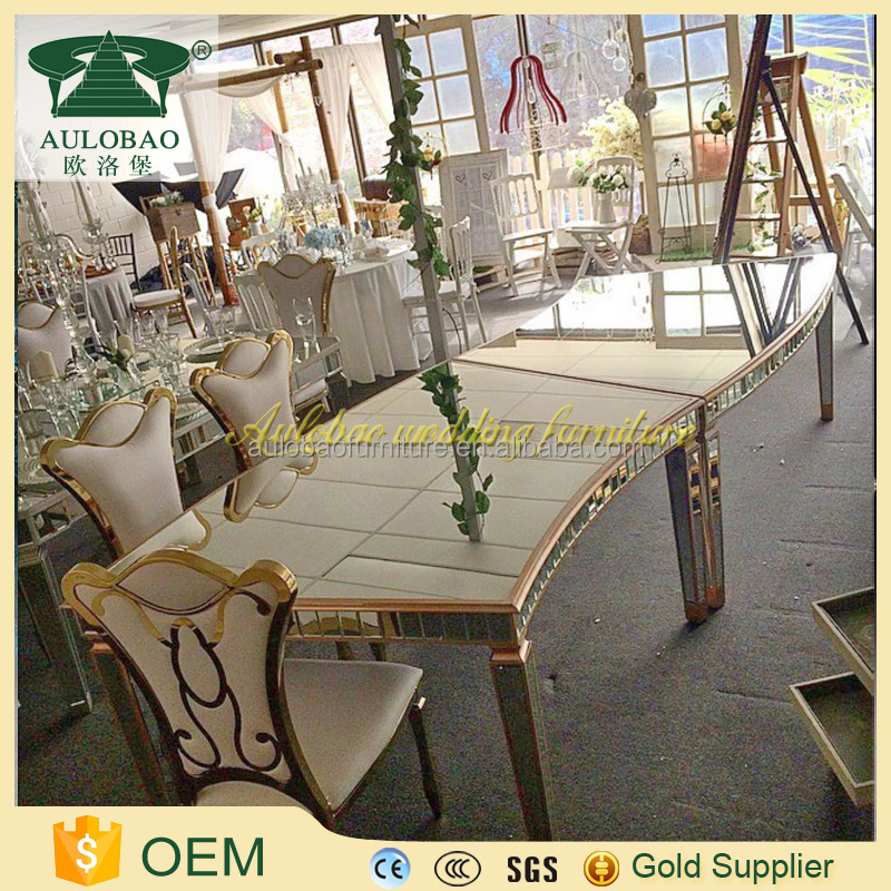 Mirror glass wedding banquet dining table for sale