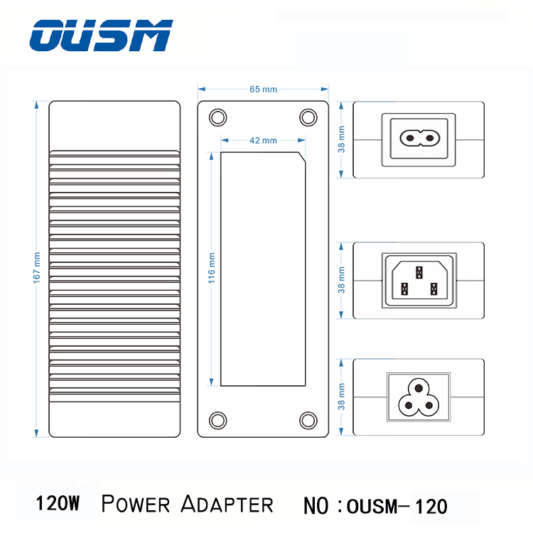 Ousm120100 power supply 120w mass power ac adapter With cUL Tuv Ce Fcc Rohs Cb Saa C-tick Bis