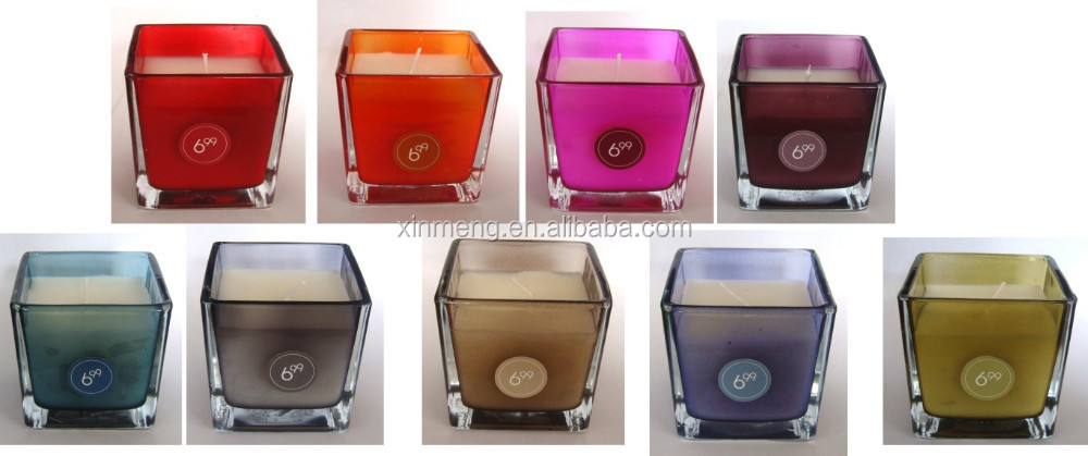 professional luxury square scented soy wax candles in square glass jar 8x8x8cm