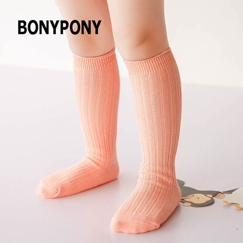 Bonypony Knee High Candy Colors Soft Cotton Booties Vertical Striped Long Tube Socks for 0-4Y Baby Infant Toddle Princess Girls