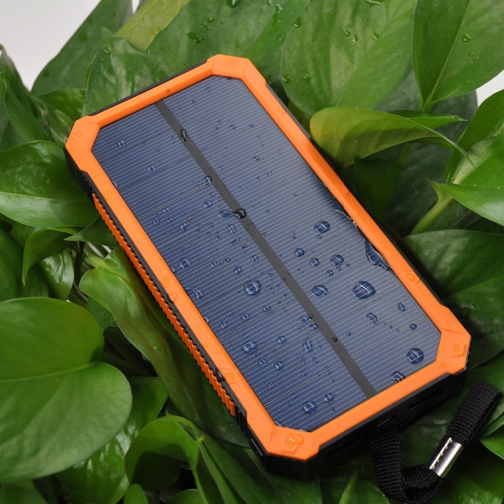 Portable Dual USB Solar Mobile Charger External Battery Pack Waterproof Solar Power Bank 15000mAh with 4 LED Flashlight