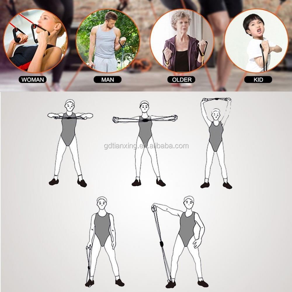 High Quality Factory Supply Sports Resistance Band Set 8 Shape Exercise Tube Chest Expander