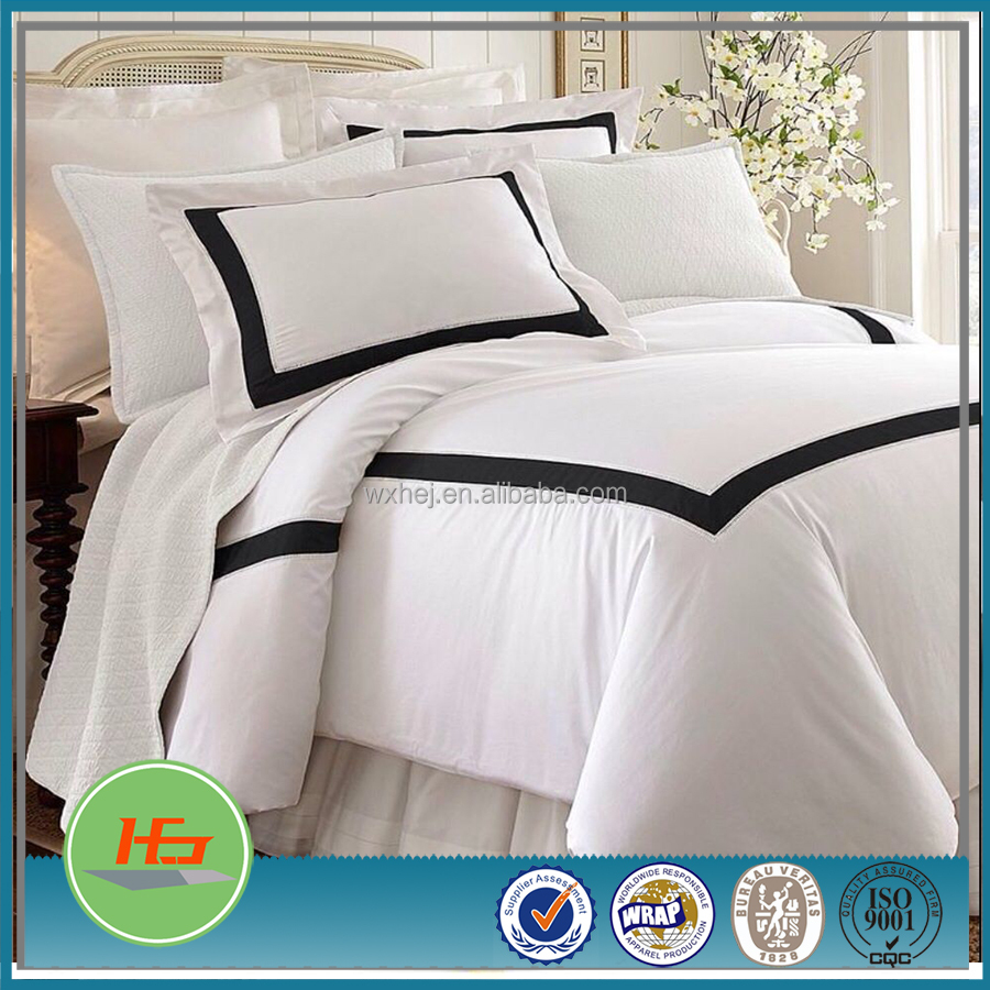 Black Patchwork White 100% Cotton Bedding Set for Hotel and Home