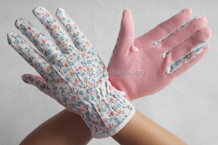 Hot sales Lady garden working gloves coated with pvc dots on palm protective