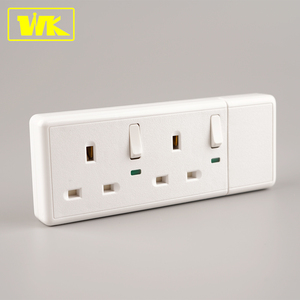 WK 13A 2 Gang Electrical Plug and Socket Switched Extension Socket with 13A Fused Plug + Individual Switch + Neon