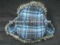 Mens 100%cotton check pattern fur lined trapper hat