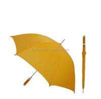 Wholesale straight umbrella Metal Solid Stick Umbrella yellow D01