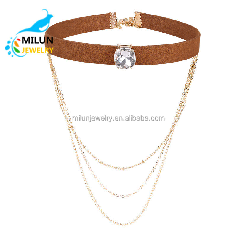 Latest design Multi-layer gold chains velvet necklace for women Jewelry <strong>accessories</strong>