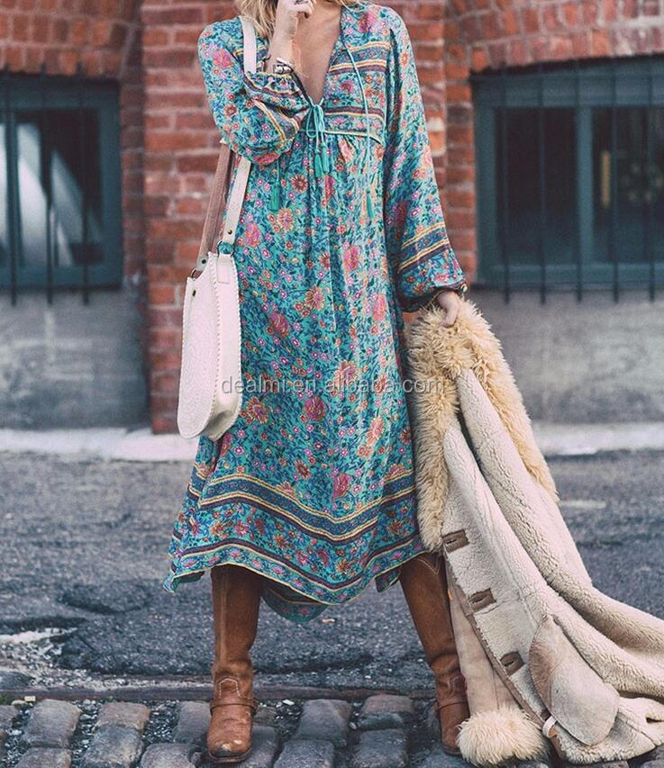 DEMI Wholesale casual dresses long sleeve boho dress maxi dress