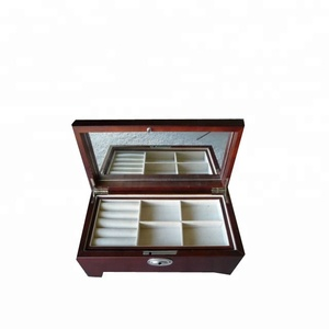 Elegant Simple Dark Wooden Jewelry Box with Velvet Lining Pull Out Tray